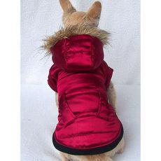 Bunda pre psa s kapucňou - tmavočervená - L