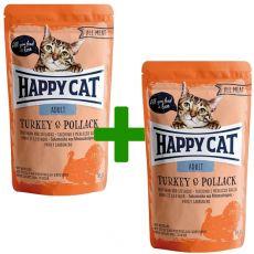 Kapsička Happy Cat ALL MEAT Adult Turkey & Pollack 85 g 1+1 ZADARMO