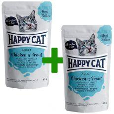Kapsička Happy Cat MEAT IN SAUCE Adult Chicken & Trout 85 g 1+1 ZADARMO