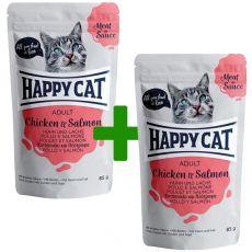 Kapsička Happy Cat MEAT IN SAUCE Adult Chicken & Salmon 85 g 1+1 ZADARMO