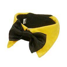 Motýlik pre psa - čierny so žltým golierom, M