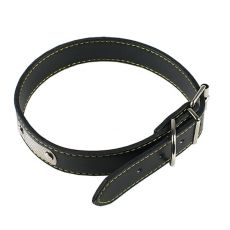Kožený obojok pre psa - čierny, 45 cm
