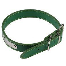 Kožený obojok pre psa - zelený, 60 cm