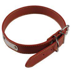 Kožený obojok pre psa - hnedý, 55 cm