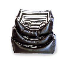 Ležadlo pre psa, čierny kožený obdĺžnik - L
