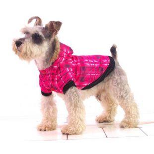 Bunda pre psa - károvaná, ružová, S