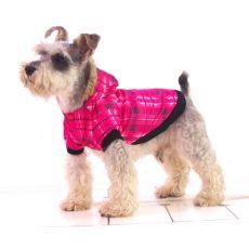 Bunda pre psa - károvaná, ružová, L