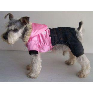 Bunda pre psa - lesklá ružová s nohavicami, XL