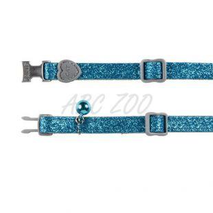 Obojok pre mačky, modré trblietky - 18 - 30 cm