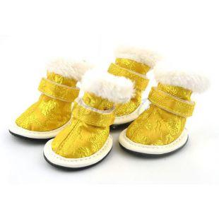 Topánky pre psov, vyšívané zlaté - veľ.4