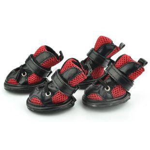 Topánky pre psy, sieťované červenočierne - veľ.5
