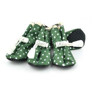 Topánky pre psov, zelené bodkované - veľ.2