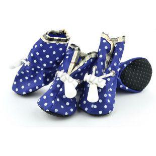 Topánky pre psov, modré bodkované - veľ.5