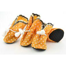 Topánky pre psov, oranžové bodkované - veľ.4