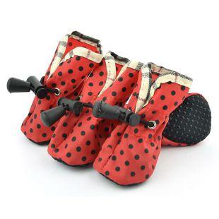 Topánky pre psov červené, čierne bodky - veľ.1
