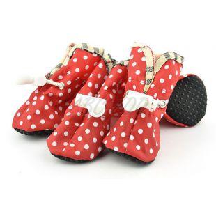 Topánky pre psov červené, biele bodky - veľ.1