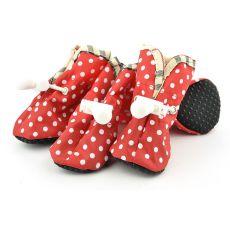 Topánky pre psov červené, biele bodky - veľ.2
