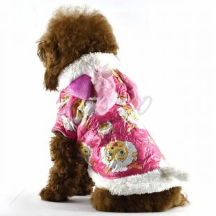 Bunda pre psa - ružová s kresleným baranom, S