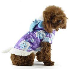 Bunda pre psa - fialová s kresleným baranom, S