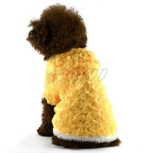 Bunda pre psa - žltá s kapucňou a ružičkami, XS
