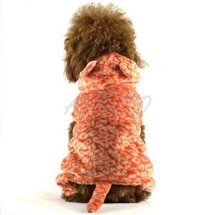 Overal pre psa - oranžový leopard s chvostom, S