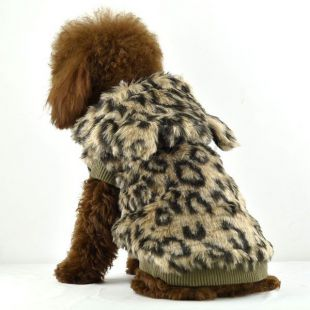 Kožuch pre psov - leopard s kapucňou, L