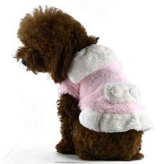 Bunda pre psov - ružovobiela s golierom, XXL