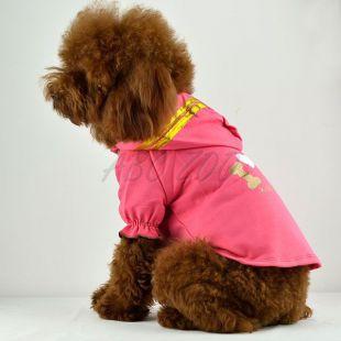 Tričko pre psov - ružové s kapucňou a nápisom, M