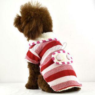 Sveter pre psov - vlnený červenej farby, XL