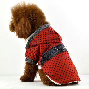 Kabát pre psov - bodkovaný červený s kožušinkou, L