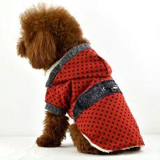 Kabát pre psov - bodkovaný červený s kožušinkou, XL