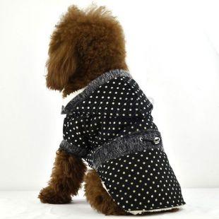 Kabát pre psov - bodkovaný čierny s kožušinkou, M