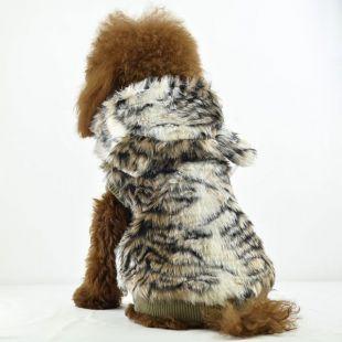 Kožuch pre psov - tiger s kapucňou, XXL