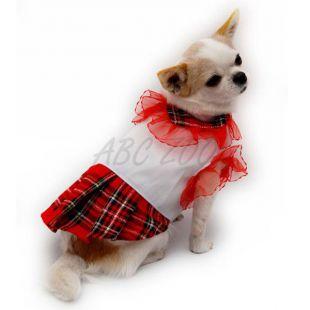 Šaty pre psov - biele tričko s červenou sukničkou, XL