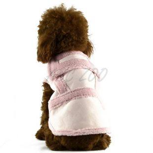 Kabát pre psov - semišový ružový, XXL