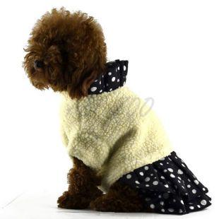 Bunda so sukňou pre psov - čiernobiela, L