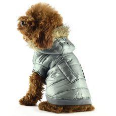 Vetrovka pre psov - lesklá sivá s kožušinkou, XS