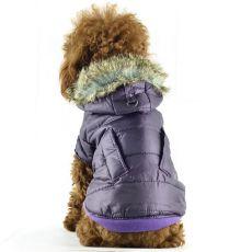 Vetrovka pre psov - lesklá fialová s kožušinkou, XS