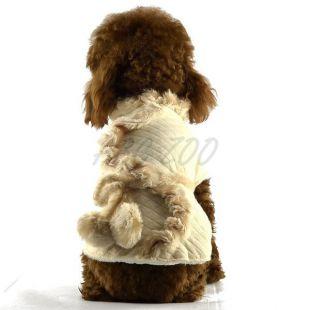 Kabátik pre psov - béžový s kožušinou, S