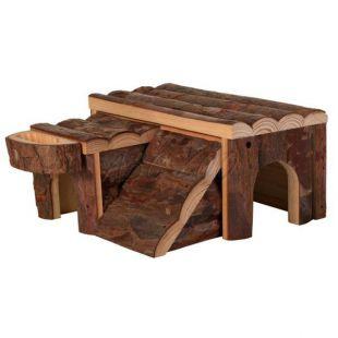 Domček pre hlodavce - drevený, 14 x 7 x 14 cm