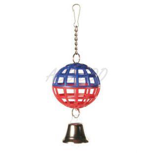 Lopta pre vtáky - mriežkovaná so zvončekom, 7 cm