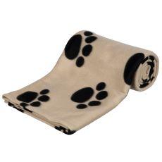 Deka pre psov a mačky - béžová s labkou, 150 x 100 cm