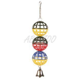 Lopty pre vtáky - plastové so zvončekom, 16 cm