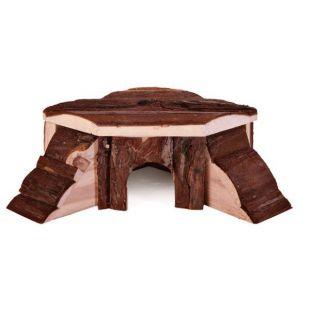 Domček pre hlodavce - drevený rohový, 21 x 7 x 19 cm