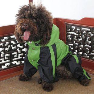Overal pre psa - nepremokavý, zelenočierny, M