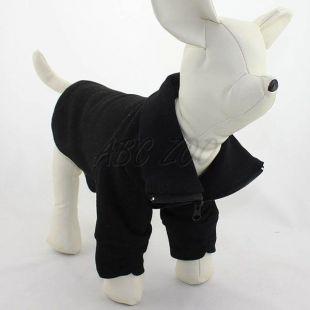 Mikina pre psa so zipsom - čierna, L