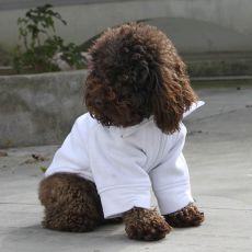 Mikina pre psa so zipsom - biela, L