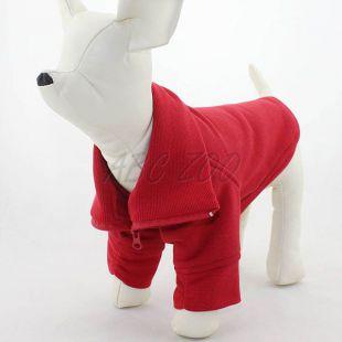 Mikina pre psa so zipsom - červená, XS