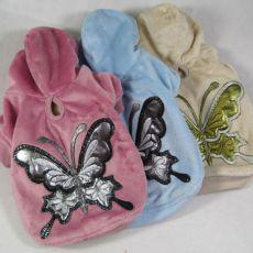 Mikina pre psov s motýľom - semišová modrá, XL