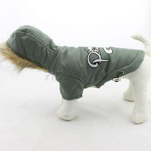 Vetrovka pre psa s kapucňou - olivová, XS